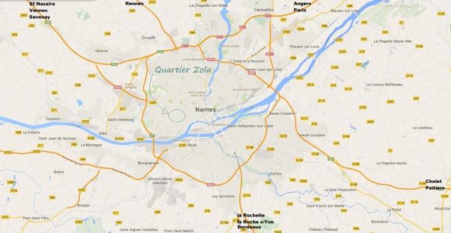 Carte Nantes quartier Zola